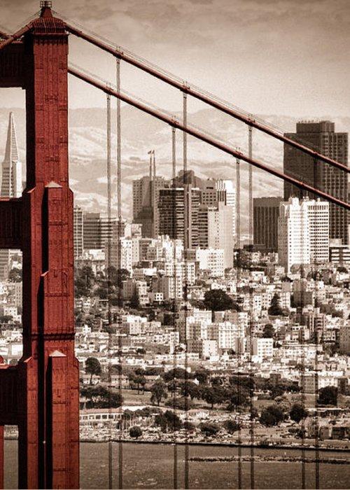 Golden Gate Greeting Card featuring the photograph San Francisco Through The Bridge by Matt Trimble