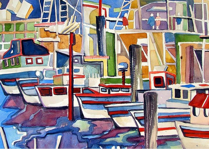 Marina Greeting Card featuring the painting San Fransico Marina by Mindy Newman
