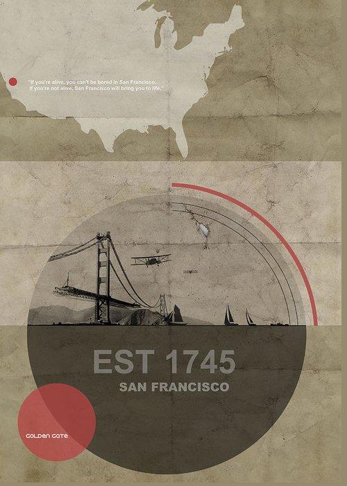 San Greeting Card featuring the digital art San Fransisco by Naxart Studio