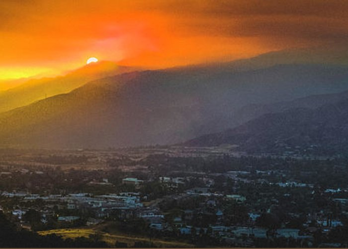 Sunset Greeting Card featuring the photograph San Gabriel Complex Fire by Christian Flores