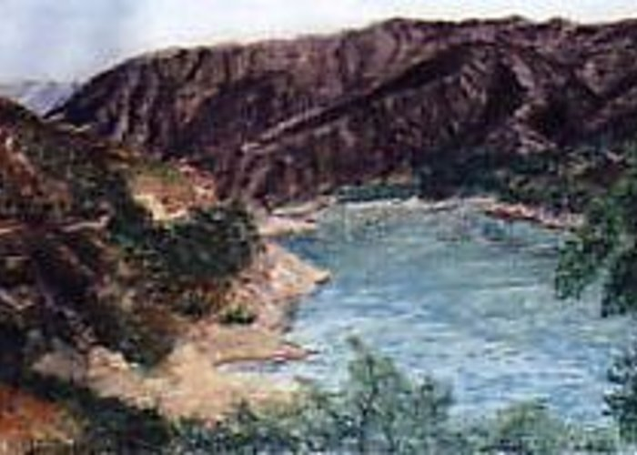 Landscape Greeting Card featuring the painting San Gabriel Reservoir by Jack Spath