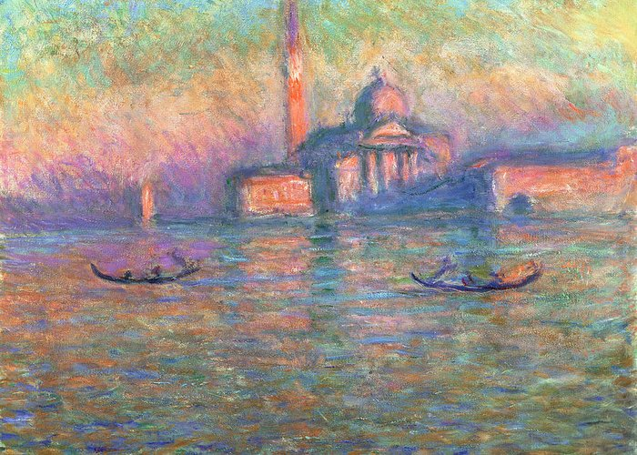 Claude Greeting Card featuring the painting San Giorgio Maggiore Venice by Claude Monet