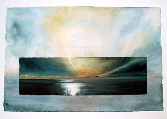 Landscape Greeting Card featuring the painting San Juan Sunset by Nancy Ethiel