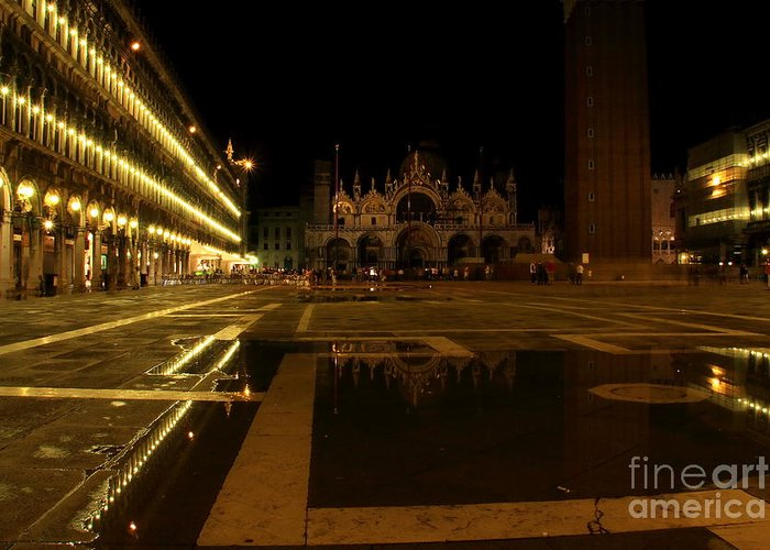 Venice Greeting Card featuring the photograph San Marco In Venice At Night by Michael Henderson