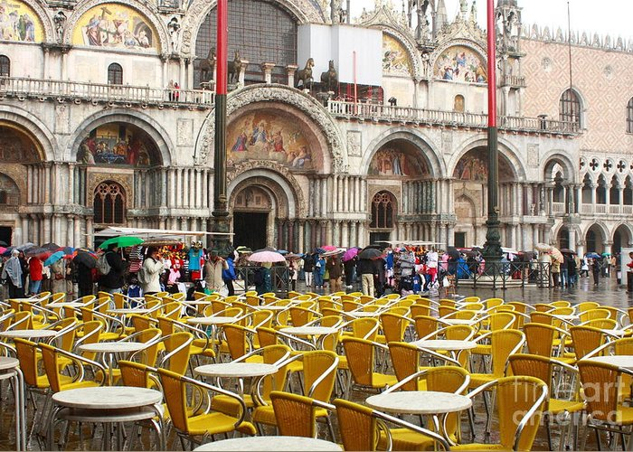 Venice Greeting Card featuring the photograph San Marco On A Rainy Day by Michael Henderson