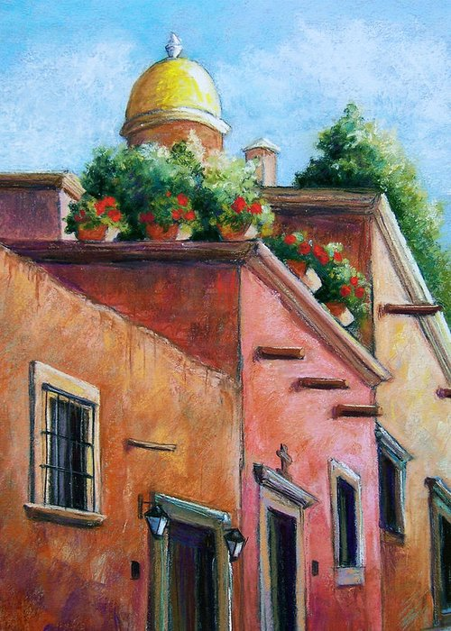 Landscape Greeting Card featuring the pastel San Miguel De Allende by Candy Mayer