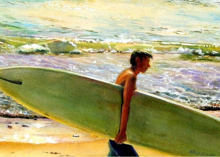 Surfing Surfboard Surf Art Ocean Landscape Sea California Surfer Color Coastal Atmosphere Greeting Card featuring the painting San O Man by Kathy Dueker