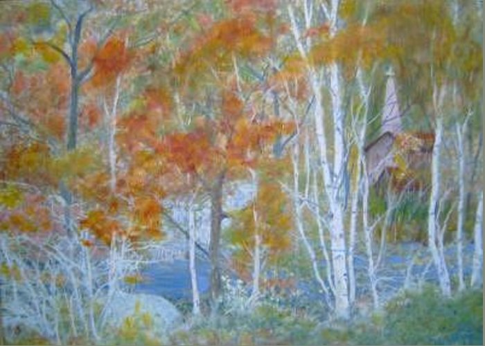 Church; Landscape; Birch Trees Greeting Card featuring the painting Sanctuary by Ben Kiger