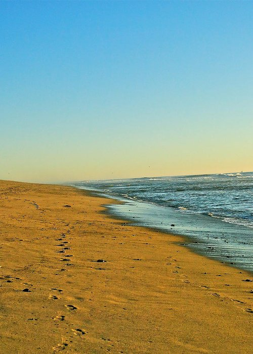 Ocean Greeting Card featuring the photograph Sand And Sea by Liz Vernand