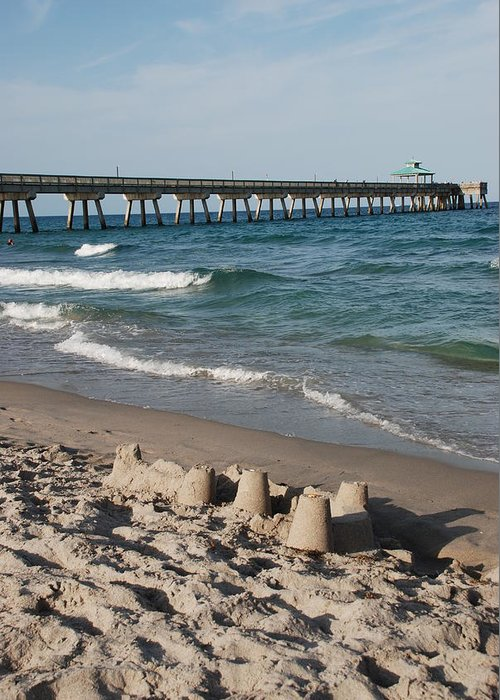 Sea Scape Greeting Card featuring the photograph Sand Castles And Piers by Rob Hans