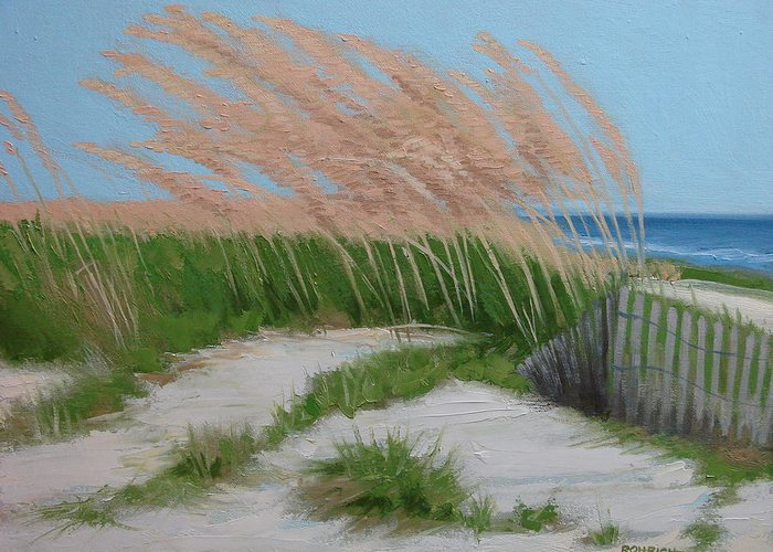 Ocean Dunes Greeting Card featuring the painting Sand Dunes No 2 by Robert Rohrich