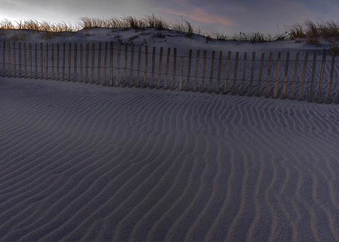 Sand Fence Greeting Card featuring the photograph Sand Fence At Robert Moses by Jim Dohms