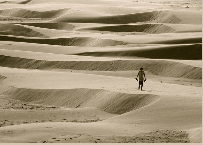 Scenic Greeting Card featuring the photograph Sand Walker by Mark Lemon