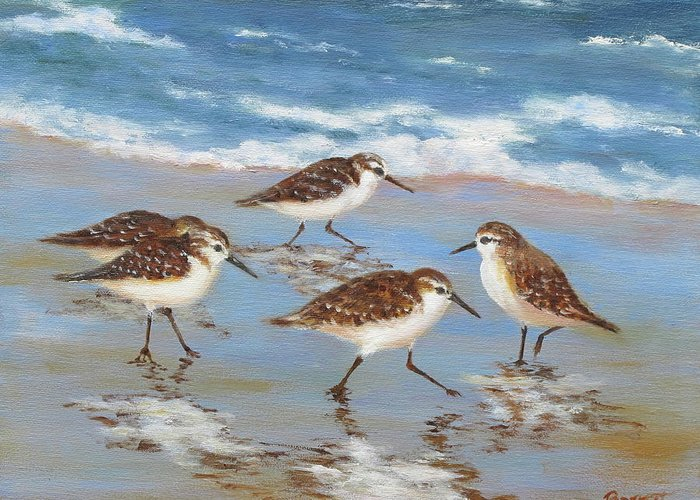 Sandpipers Greeting Card featuring the painting Sandpipers by Barrett Edwards