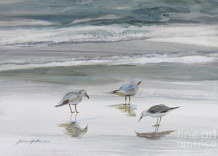 Art Greeting Card featuring the painting Sandpipers by Julianne Felton