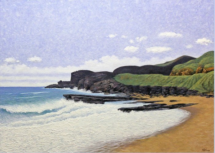 Beach Greeting Card featuring the painting Sandy Beach Oahu by Norman Engel