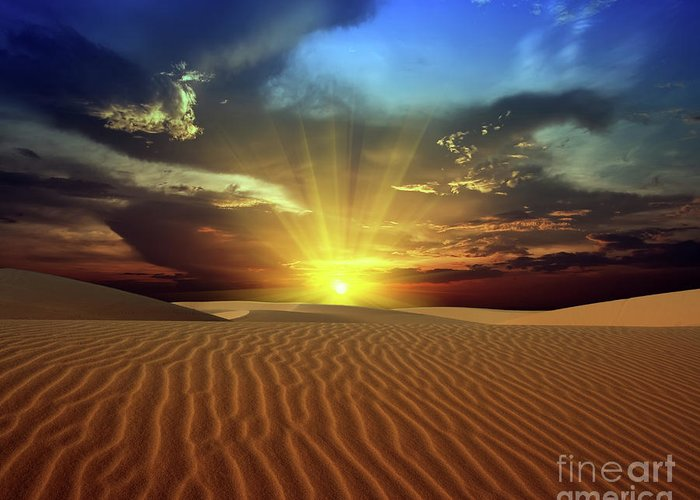 Dunes Greeting Card featuring the photograph Sandy Desert by MotHaiBaPhoto Prints