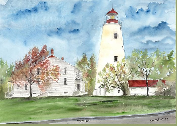 Watercolor Greeting Card featuring the painting Sandy Hook Lighthouse by Derek Mccrea