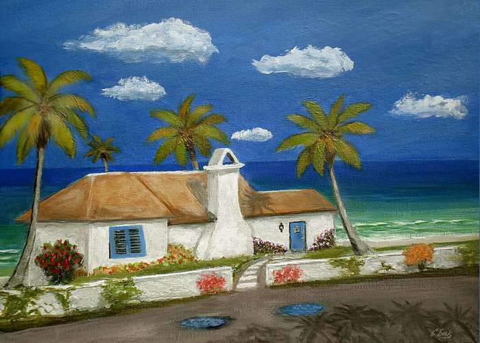 Tropical Beach Cottage Florida Home Seascape Coastal Ocean Palm Trees Caribbean Gordon Beck Art Greeting Card featuring the painting Sandy Point by Gordon Beck