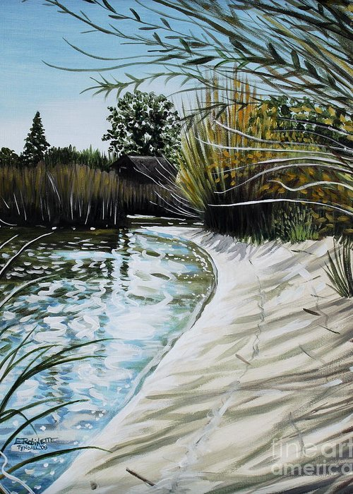 Landscape Greeting Card featuring the painting Sandy Reeds by Elizabeth Robinette Tyndall