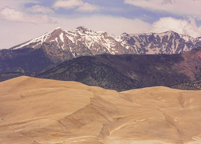 the Great Colorado Sand Dunes Greeting Card featuring the photograph Sangre De Cristo Mountains And The Great Sand Dunes by James BO Insogna