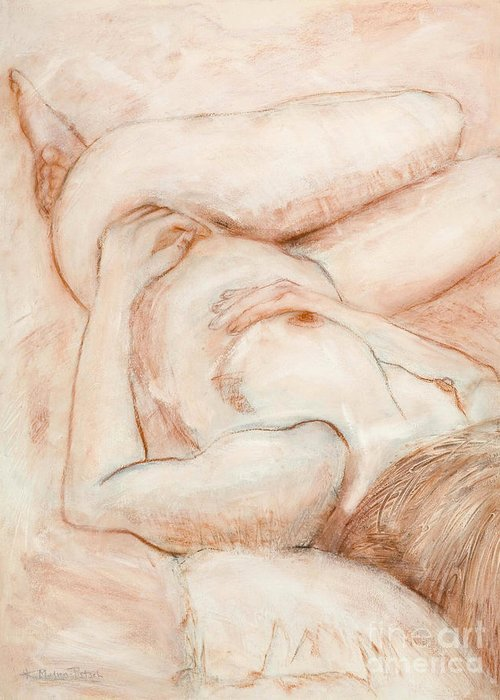 Female Greeting Card featuring the drawing Sanguine Nude by Kerryn Madsen-Pietsch