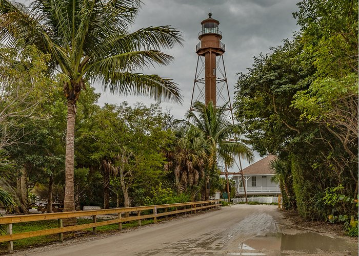 Architecture Greeting Card featuring the mixed media Sanibel Island Lighthouse by Capt Gerry Hare