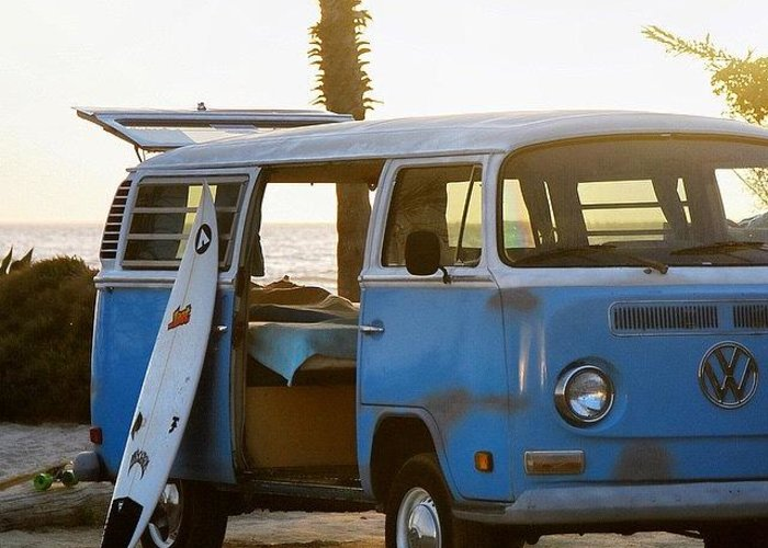 Volkswagen Greeting Card featuring the photograph VW and Surfboard by Hal Bowles