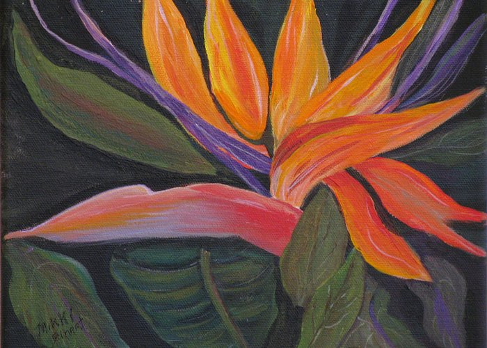 Tropical Greeting Card featuring the painting Santa Barbara Bloom by Mikki Alhart