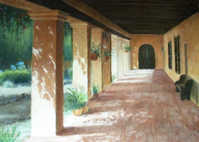 Mission Greeting Card featuring the painting Santa Barbara Mission - The Niche by Laura Wynne