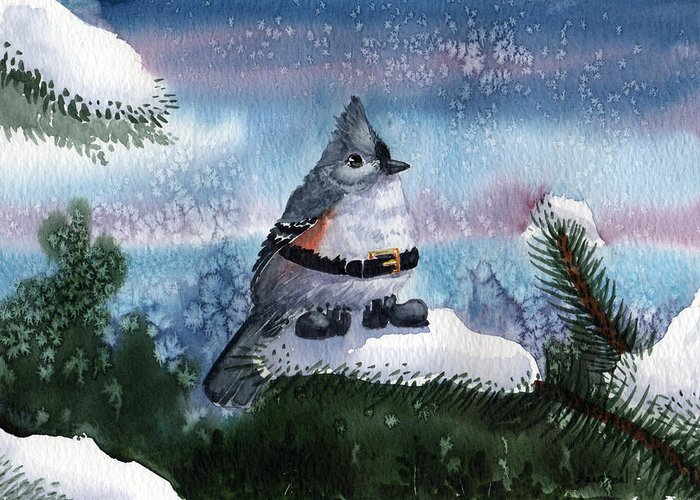 Birds Tufted Titmouse Winter Christmas Santa Boots Snow Pine Branches Salt Wash Greeting Card featuring the painting Santa Boots by Sean Seal