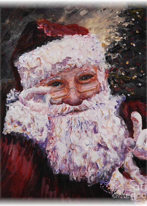 Santa Greeting Card featuring the painting Santa Chat by Nadine Rippelmeyer