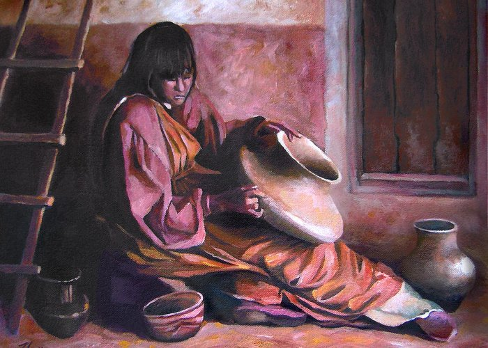 Native American Greeting Card featuring the painting Santa Clara Potter by Nancy Griswold