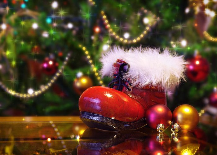 Background Greeting Card featuring the photograph Santa-claus Boot by Carlos Caetano