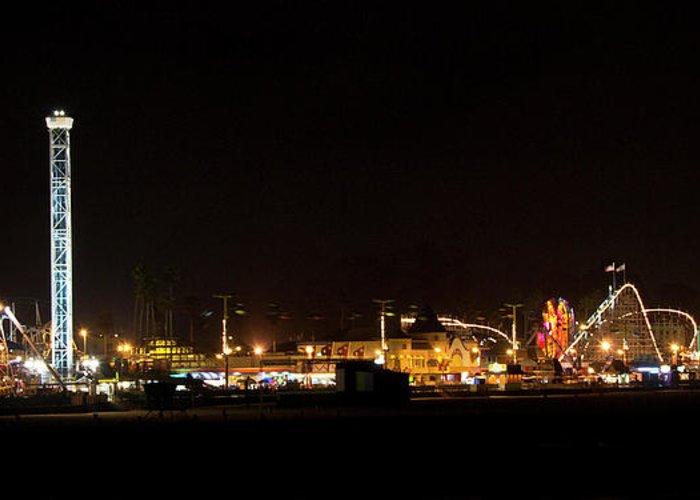 Santa Greeting Card featuring the photograph Santa Cruz Boardwalk By Night by Brendan Reals