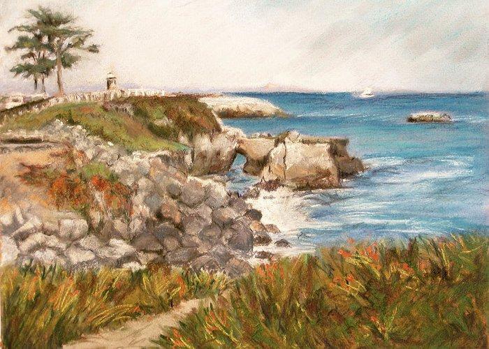 Santa Cruz Greeting Card featuring the pastel Santa Cruz By The Bay by Ann Caudle