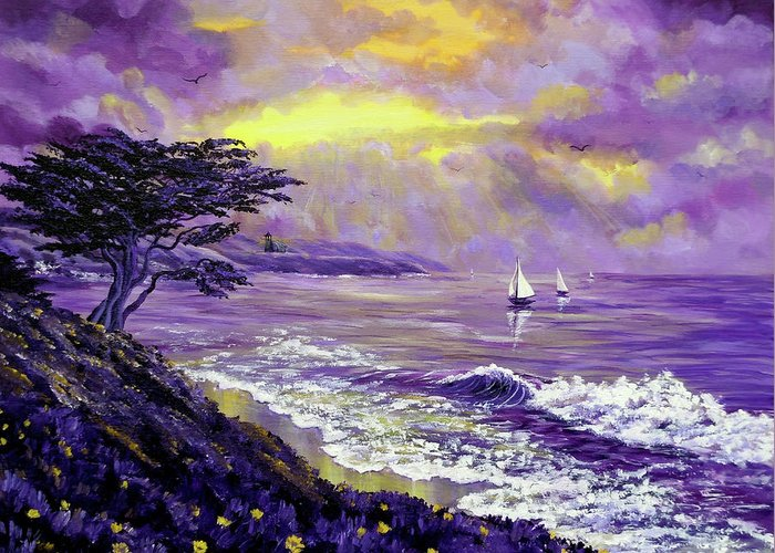 Seascape Greeting Card featuring the painting Santa Cruz Rhapsody by Laura Iverson