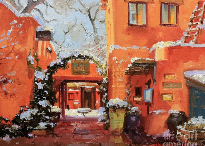 Adobe House Greeting Card featuring the painting Santa Fe Cafe by Gary Kim