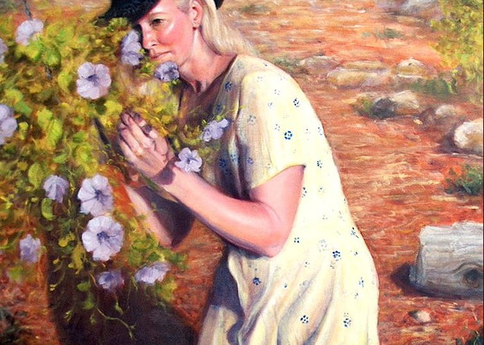 Realism Greeting Card featuring the painting Santa Fe Garden 2  by Donelli DiMaria