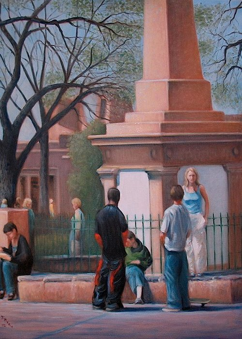 Realism Greeting Card featuring the painting Santa Fe Plaza by Donelli DiMaria