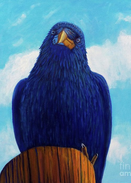 Raven Greeting Card featuring the painting Santa Fe Smile by Brian Commerford