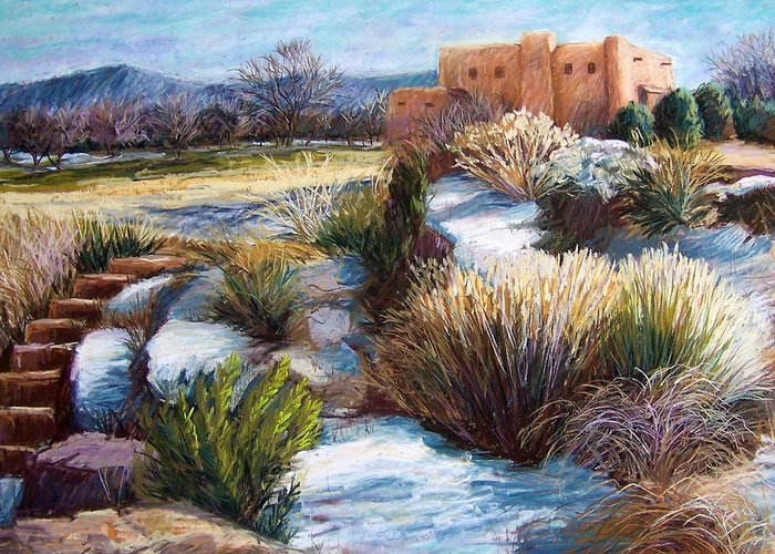 Landscape Greeting Card featuring the pastel Santa Fe Spring by Candy Mayer