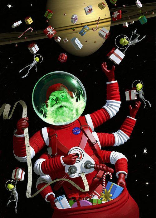 Santa Greeting Card featuring the digital art Santa In Space by Alex Tomlinson