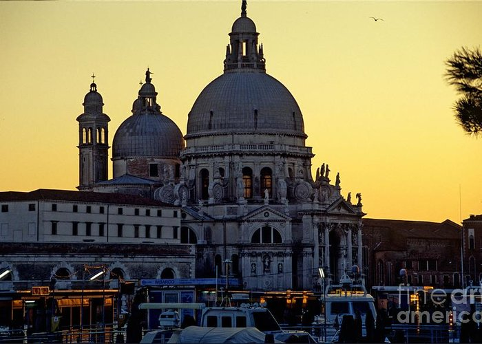 Venice Greeting Card featuring the photograph Santa Maria Della Salute On Grand Canal In Venice Against The Evening Sky by Michael Henderson