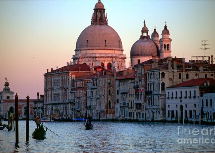 Venice Greeting Card featuring the photograph Santa Maria Della Salute On Grand Canal In Venice In Evening Light by Michael Henderson