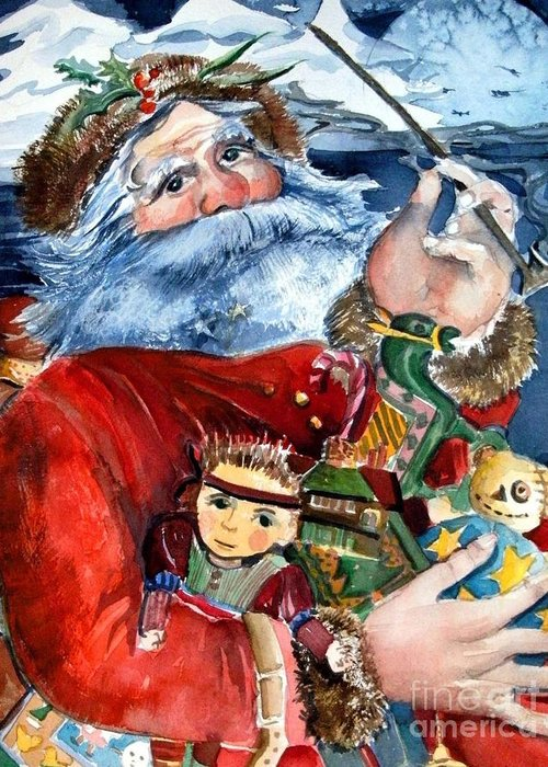 Christmas Greeting Card featuring the painting Santa by Mindy Newman