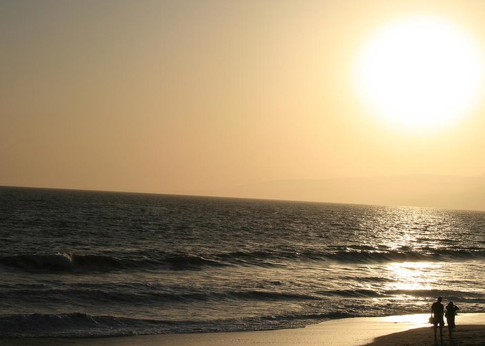 Landscape Greeting Card featuring the photograph Santa Monica At Sunset by Aimee Galicia Torres