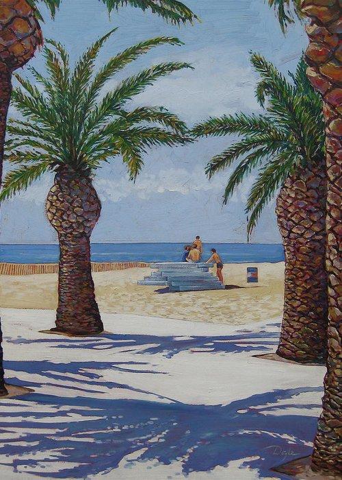 Beach Greeting Card featuring the painting Santa Monica Beach by Karen Doyle
