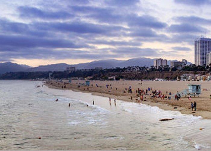 Santa Greeting Card featuring the photograph Santa Monica Sunset Panorama by Ricky Barnard