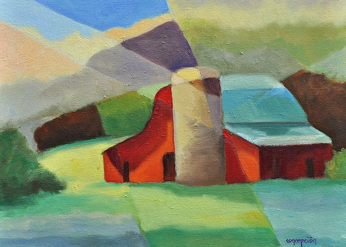 Coloful Abstract Red Barn Greeting Card featuring the painting Clayton Winery by Ginger Concepcion